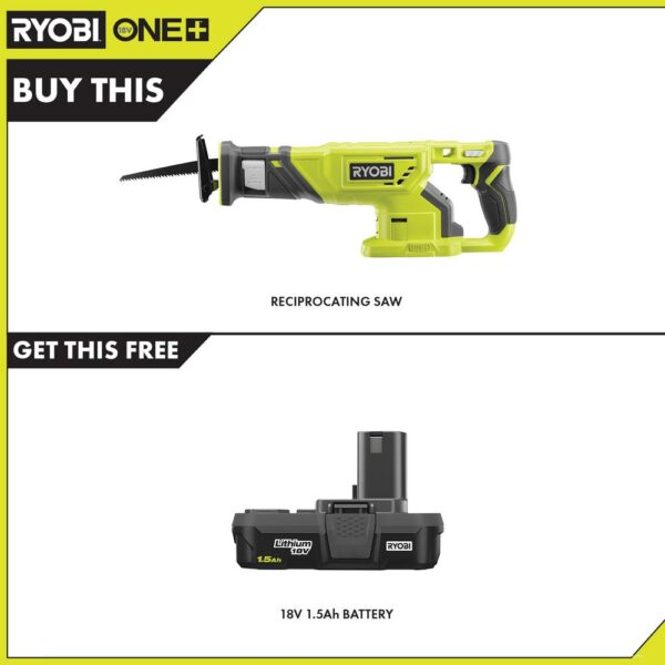 RYOBI 18-Volt ONE+ Cordless Reciprocating Saw with 1.5 Ah Compact Lithium-Ion Battery