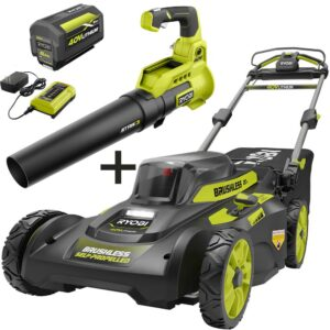 RYOBI 20 in. 40-Volt Brushless Lithium-Ion Cordless Self-Propelled Walk Behind Lawn Mower & Blower w/ 6.0 Ah Battery & Charger