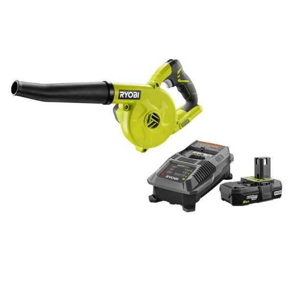 RYOBI 18-Volt ONE+ Cordless Compact Workshop Blower with 2.0 Ah Battery and Charger Kit