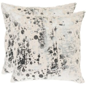 Safavieh Nars White and Charcoal Grey Graphic Down Alternative 20 in. x 20 in. Throw Pillow (Set of 2)