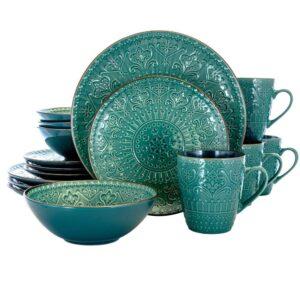 Elama 16-Piece Modern Sea Green Stoneware Dinnerware Set (Service for 4)