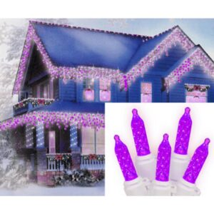 Sienna 70-Light LED Purple M5 Icicle Christmas Lights with White Wire