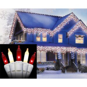 Sienna Set of 100 Red and Frosted Clear Mini Icicle Christmas Lights - White Wire
