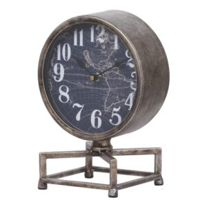 A & B Home Metro Table Clock - Silver, Antique White, Dark Blue