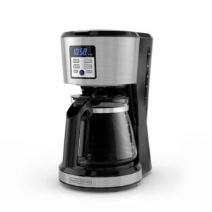 BLACK+DECKER 12-Cup Silver Accents Programmable Coffeemaker with Vortex Technology