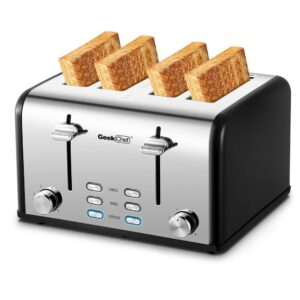 Boyel Living 1650 W 4-Slice Silver Wide Slot Toaster with Dual Control Panels of Bagel, Defrost and Cancel Function