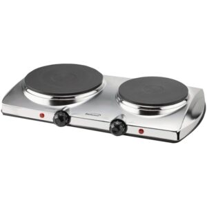 Brentwood Appliances 1440W 2-Burner 7.5 in. Silver Electric Hot Plate