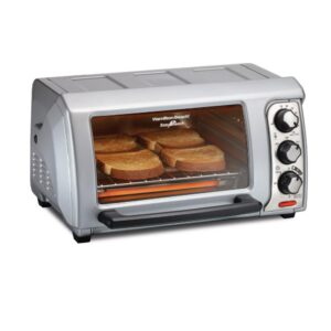 Hamilton Beach Easy Reach 1200 W 4-Slice Silver Toaster Oven with Roll Top Door