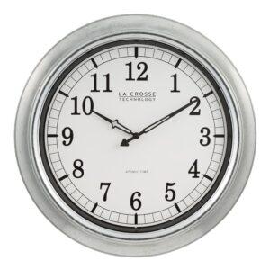 La Crosse Technology 18 in. Galvanized Indoor/Outdoor Atomic Analog Wall Clock