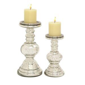 LITTON LANE Silver Glass Squat Ball Column Candle Holders (Set of 2)