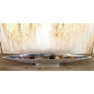 LITTON LANE 36 in. x 3 in. Polished Silver Aluminum Canoe-Shaped Bowled Tray