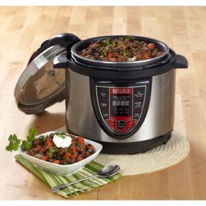 IMUSA 5 Qt. Silver and Red Electric Pressure Cooker with Locking Lid