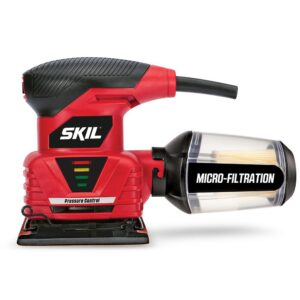Skil 2 Amp Corded Electric 1/4 in. Sheet Palm Sander with Pressure Control and Micro Filtration Kit