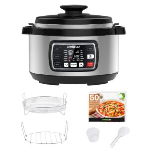 GoWISE USA Ovate 8.5 Qt. Stainless Steel Electric Pressure Cooker Oval with Accessories and 50-Recipes