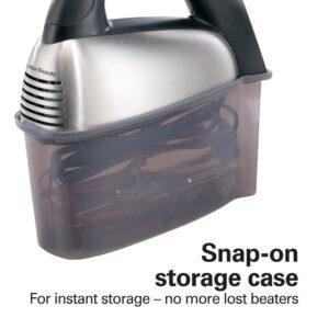 Hamilton Beach SoftScrape 6-Speed Stainless Steel Hand Mixer with Snap-On Case