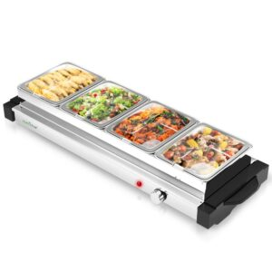 NutriChef Single Burner 8.5 in. Stainless Steel Electric Food Warming Tray Buffet Server Hot Plate (4-Plate Tray Style)