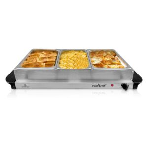 NutriChef 3-Burner 15 in. Stainless Steel Food Warming Tray / Buffet Server / Hot Plate