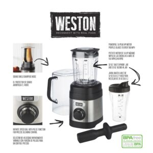 Weston Pro Series 32 oz. 11-speed with Sound Shield and 20 oz. Travel Jar Stainless Steel Blender