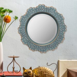 Stonebriar Collection Small Round Blue Casual Mirror (12.5 in. H x 12.5 in. W)