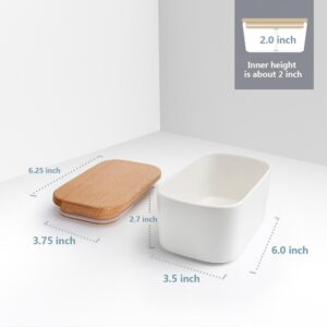 Sweese Airtight Butter Dish with Beech Wooden Lid - White, Set of 1