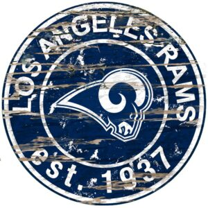 """Adventure Furniture 24"""" NFL Los Angeles Rams Round Distressed Sign"""
