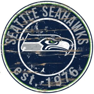 """Adventure Furniture 24"""" NFL Seattle Seahawks Round Distressed Sign"""
