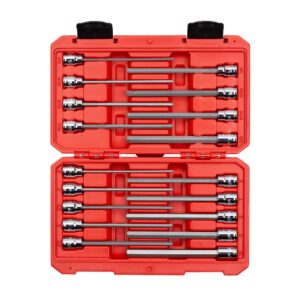 TEKTON 3/8 in. 1/8 in. to 3/8 in. 3 mm to 10 mm Drive Long Hex Bit Socket Set (18-Piece)