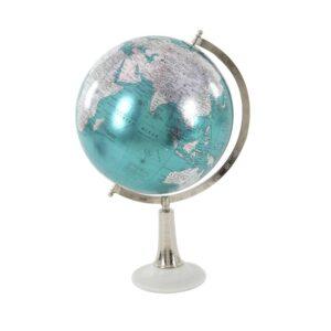 LITTON LANE 20 in. x 13 in. Modern Decorative Globe in Cyan and Silver