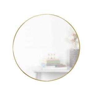 Umbra Hub Round Contemporary Mirror Brass (34 in. H x 34 in. W)