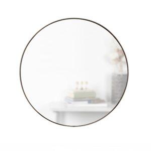 Umbra Hub Round Contemporary Mirror Metallic Titanium (34 in. H x 34 in. W)