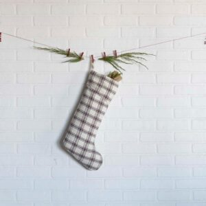 VHC Brands 20 in. 100% Cotton Amory Ivory White Farmhouse Christmas Decor Plaid Stocking