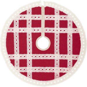VHC Brands 21 in. Red Margot Farmhouse Christmas Decor Tree Skirt