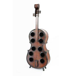 Vintiquewise Decorative 10 Bottle Wooden Cello Shaped Wine Rack 53 in. Floor Violin