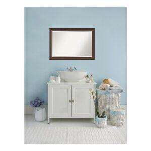 Amanti Art Cyprus 41 in. W x 29 in. H Framed Rectangular Beveled Edge Bathroom Vanity Mirror in Walnut