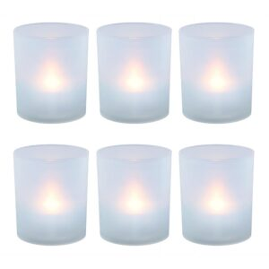 LUMABASE Flameless Votive Candles 2.25 in. Warm White Plastic Frosted Holders (6 Count)