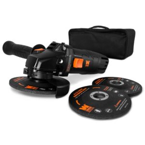 WEN 7.5 Amp Corded 4-1/2 in. Angle Grinder with Reversible Handle, 3 Grinding Discs and Carrying Case