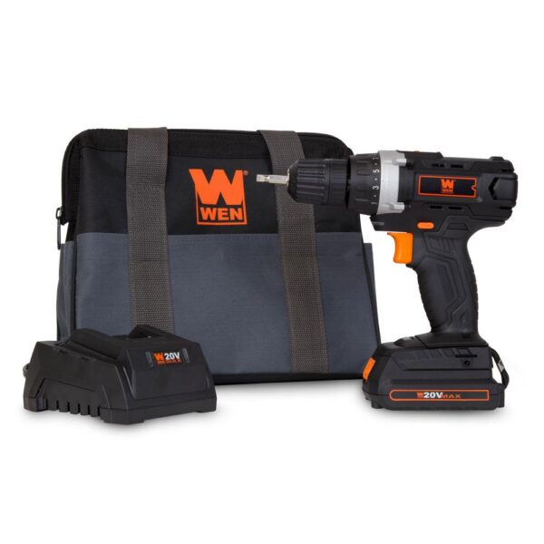 WEN 20-Volt MAX Lithium-Ion 3/8 in. Cordless Drill/Driver with Bits and Carrying Bag