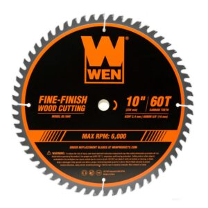 WEN 10 in. 60-Tooth Fine-Finish Professional Woodworking Saw Blade for Miter Saws and Table Saws