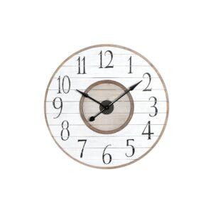 3R Studios White Distressed Wood Slat Wall Clock