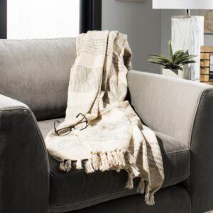 Safavieh Voleta White/Gold Throw Blanket
