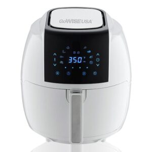 GoWISE USA 8-in-1 5.8 Qt. Touch Screen White Air Fryer with Recipe Book