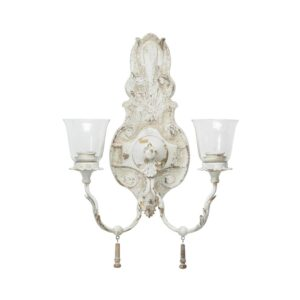 LITTON LANE Distressed White 2-Light Candle Sconce