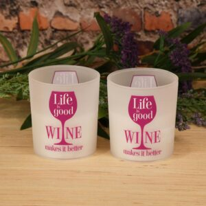 LUMABASE Battery Operated Wax Filled Glass LED Candles - Life is Good, Wine Makes it Better (Set of 2)