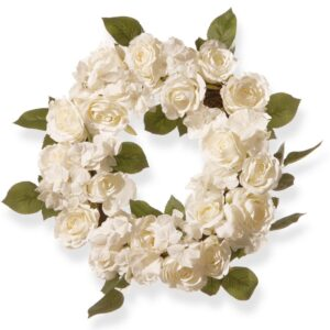 National Tree Company 16 in. White Rose Wreath