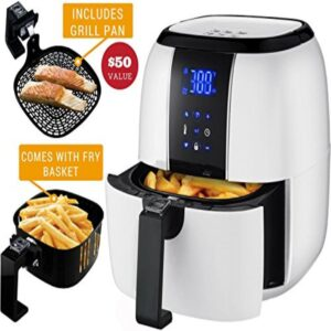 Ovente 3.2 Qt. White Air Fryer Grill Pan and Non-Stick Frying Basket Auto Shut-Off 6 Cooking Presets Touch Sensor