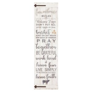 Pinnacle 13 in. x 47 in. Barn Door Wall Farmhouse Rules Rustic White Wood Plank Decorative Sign