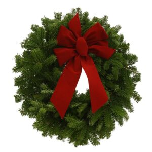 Worcester Wreath 16 in. Balsam Fresh Mini Wreaths and Red Velvet Bow (4-Set) : Multiple Ship Weeks Available