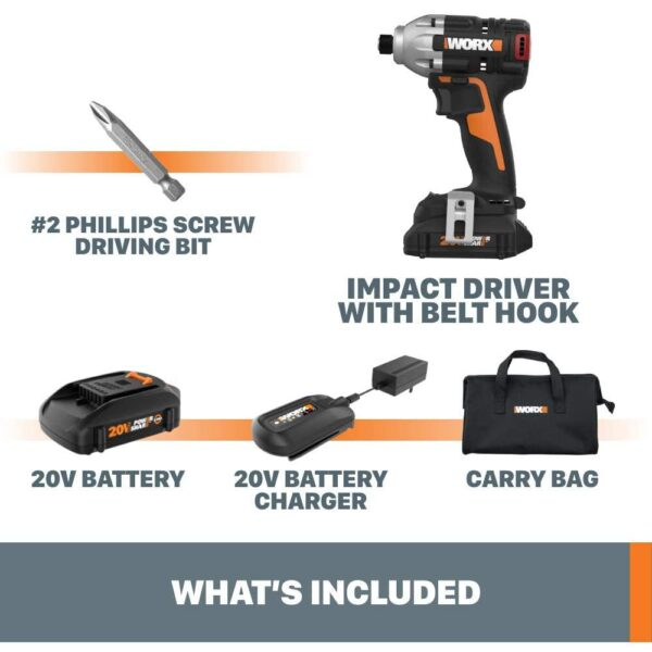 Worx Power Share 20-Volt Cordless and Brushless Multi-Speed 1/4 in. Hex Impact Driver with Quick Change Chuck (Tool Only)