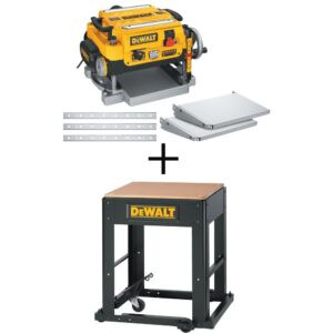 DEWALT 15 Amp 13 in. Heavy-Duty 2-Speed Thickness Planer with Knives and Tables and Planer Stand