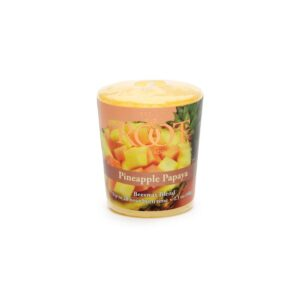 ROOT CANDLES 20-Hour Pineapple Papaya Scented Votive Candle (Set of 18)
